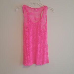 Hot pink lace tank